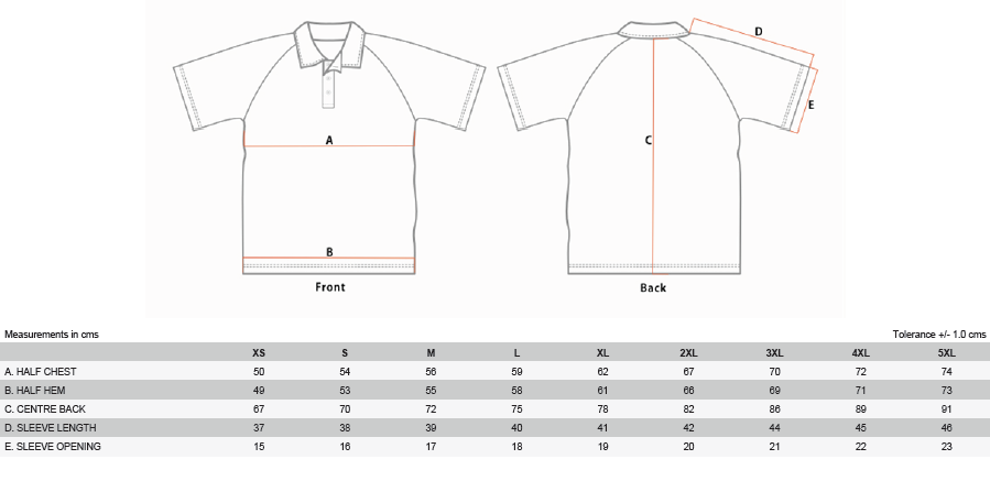 Tenpin Shirt Sizes
